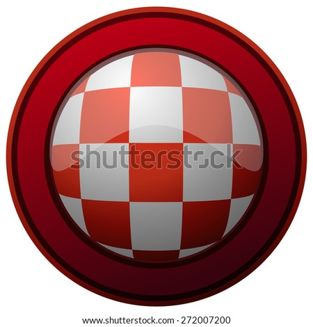Croatia Coat of Arms Pattern on a round Red Framed Glossy Shield, Vector Illustration isolated on White Background. - stock vector