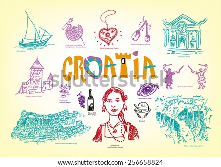 Croatia Culture and Tourist Spots Doodle Handdrawn style images. Vector EPS10 illustration Outline art and Jpg versions. - stock vector