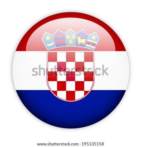 Croatia flag button on white - stock vector