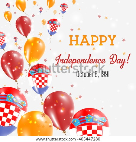 Croatia Independence Day Greeting Card. Flying Balloons in Croatian National Colors. Happy Independence Day Croatia Vector Illustration.