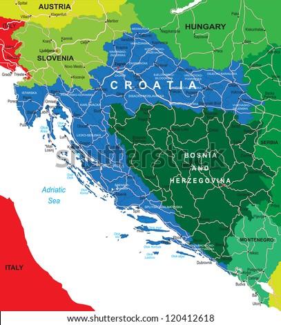 Croatia map - stock vector