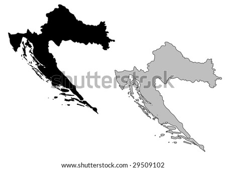 Croatia map. Black and white. Mercator projection. - stock vector