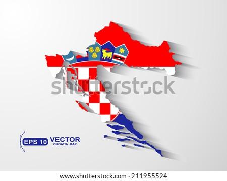 Croatia map with shadow effect - stock vector