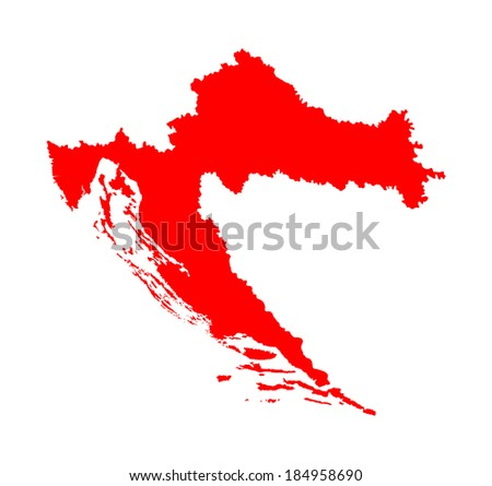 Croatia vector map high detailed, isolated on white background. Red illustration silhouette. - stock vector