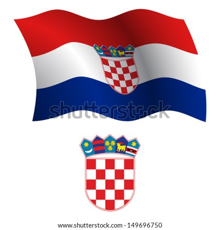 croatia wavy flag and coat of arms against white background, vector art illustration, image contains transparency - stock vector