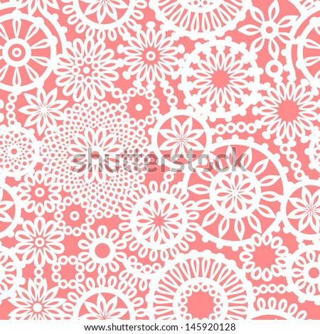 Crochet circle ornament flowers pink and white seamless pattern, vector - stock vector