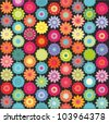 Crochet hippie floral pattern - stock vector