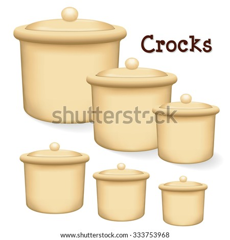 Crocks with lids. Collection of earthenware storage jars with lids in small, medium and large sizes isolated on a white background. EPS8 compatible.  - stock vector
