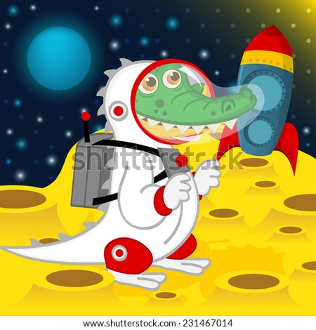 crocodile astronaut on moon - vector illustration, eps - stock vector