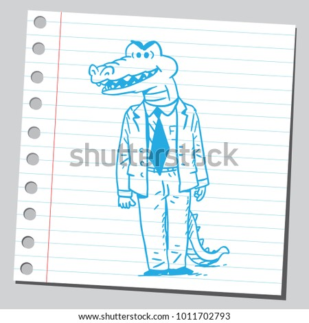 Crocodile Businessman Looking Very Angry Stock Vector (Royalty Free ...