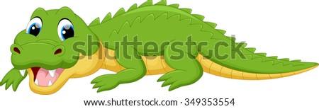 Crocodile cartoon - stock vector