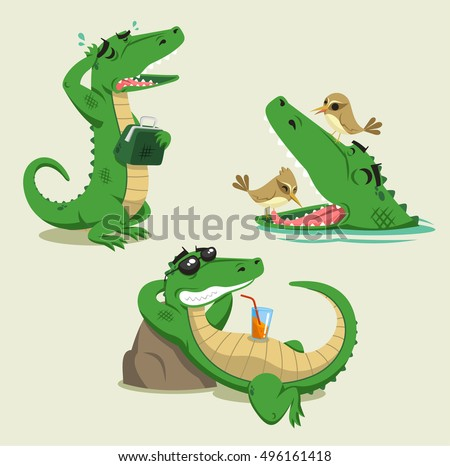 Crocodile cartoon Vector set