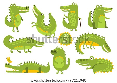 Crocodile Cute Character In Different Poses Childish Stickers