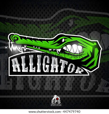 Crocodile face in profile with bared teeth. Logo for any sport team alligator - stock vector