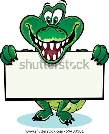 Crocodile holding sign - stock vector