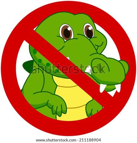 crocodile in a prohibitory sign - stock vector