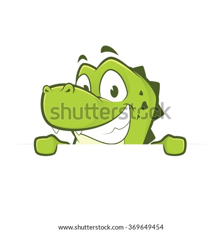 Crocodile or alligator holding and looking over a blank sign board - stock vector