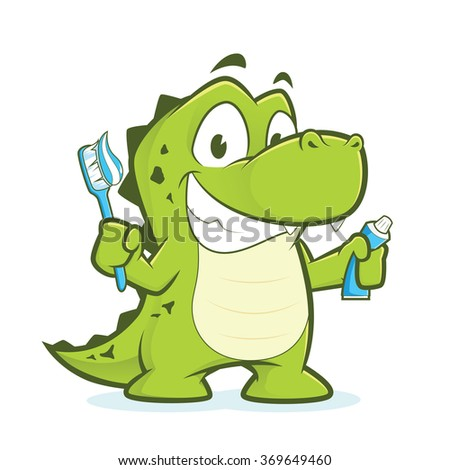 Crocodile or alligator holding toothbrush and toothpaste - stock vector