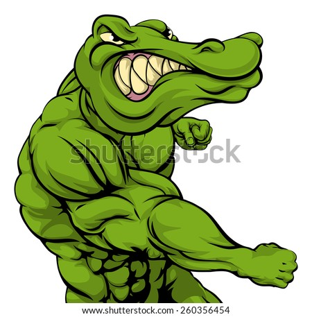 Crocodile or alligator or mascot fighting punching at the viewer with fist clenched - stock vector