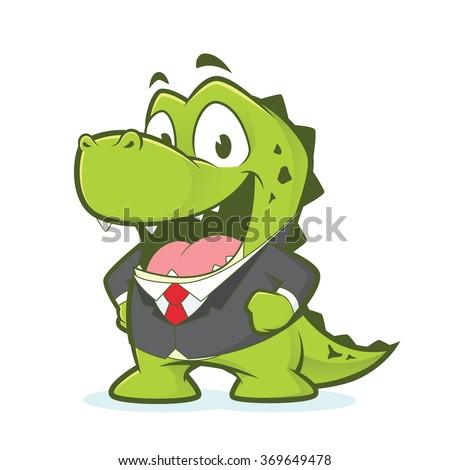 Crocodile or alligator wearing suit - stock vector