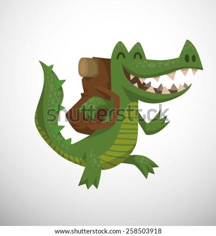 Crocodile walking, vector - stock vector