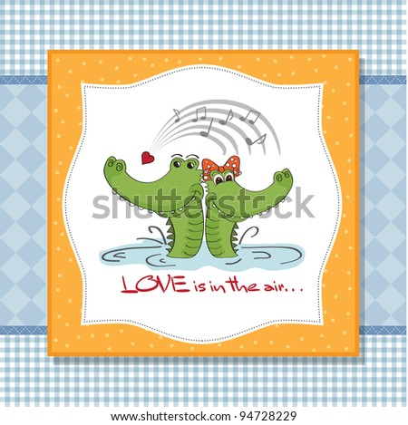 Crocodiles in love.Valentine's day card