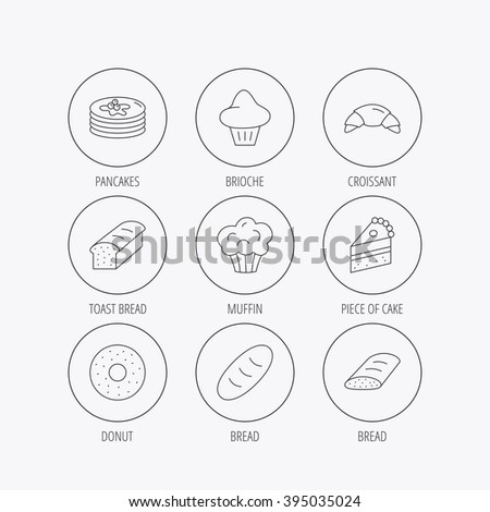 Croissant, cake and bread icons. Muffin, brioche and sweet donut linear signs. Pancakes with syrup flat line icons. Linear colored in circle edge icons.