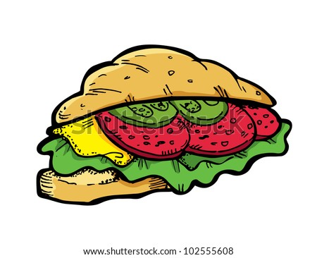 croissant sandwich - stock vector