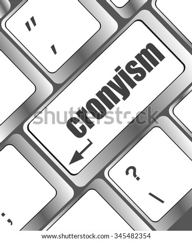 cronyism on laptop keyboard key button vector illustration