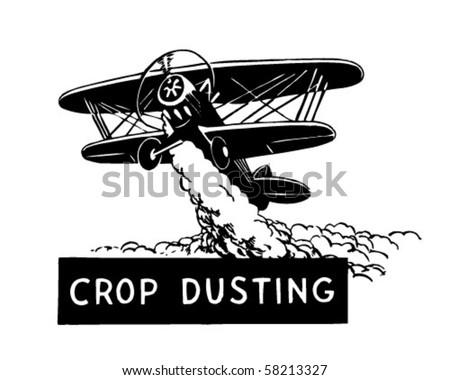 Crop Duster - Biplane - Retro Clip Art - stock vector