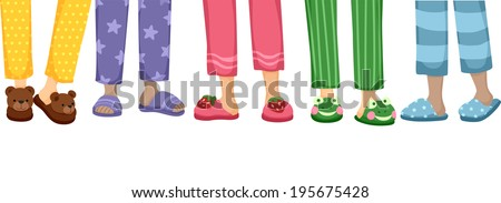 Cropped Illustration Featuring a Variety of Cute Slippers - stock vector