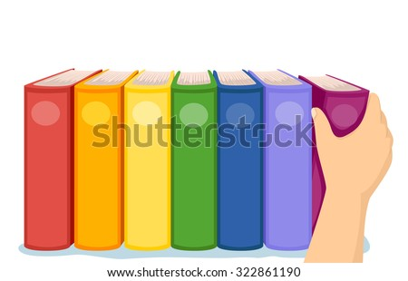 Cropped Illustration of a Hand Arranging Colorful Books in a Shelf - stock vector