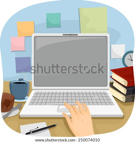 Cropped Illustration of a Person Using a Laptop to Do His Work - stock vector