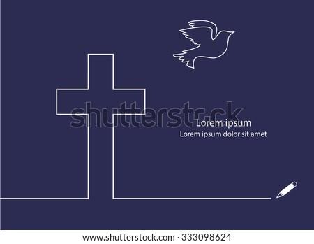 Cross and dove line design vector. - stock vector