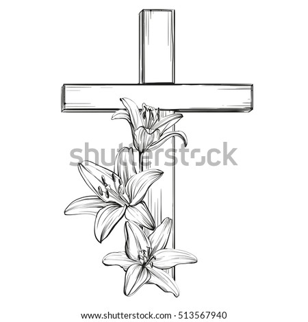 cross and floral blooming lilies, a symbol of Christianity hand drawn vector llustration  sketch