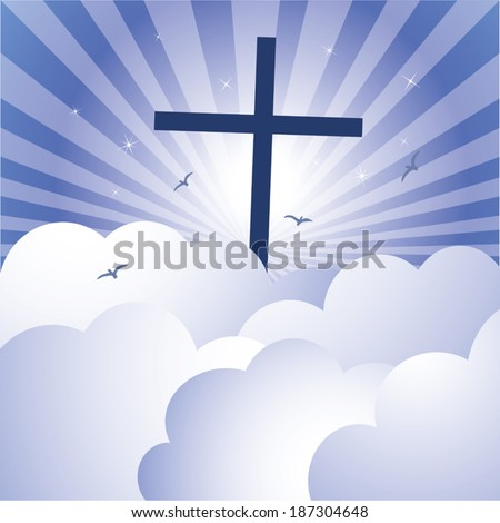 Cross and glorious sky. Vector illustration of cross Jesus Christ's Resurrection with glorious sky and sparkles stars background. - stock vector
