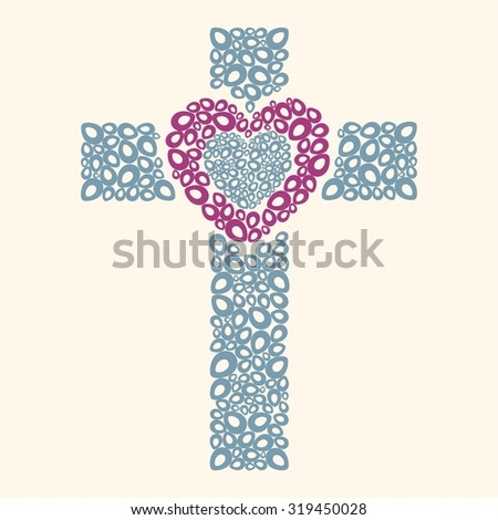 Cross and heart - stock vector