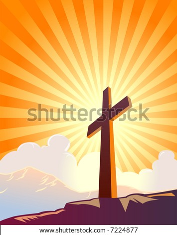 Cross and sunburst with mountains and clouds ? VECTOR - stock vector