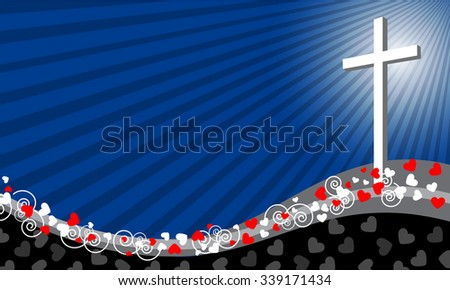 Cross background with hearts and space for text- Love concept-Vector illustration - stock vector
