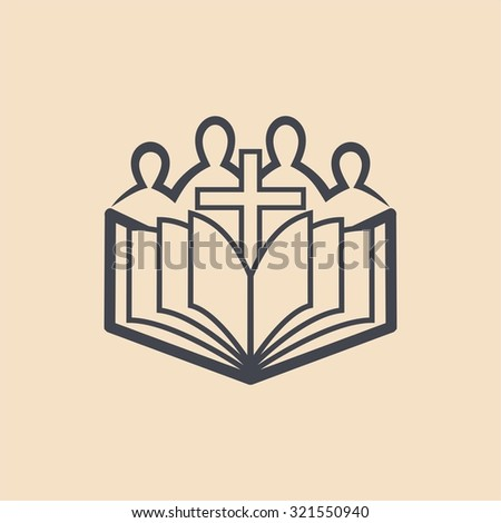 Cross, Bible, worshipers, church, congregation, icon - stock vector