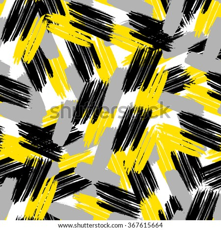 Cross brushstrokes seamless bold pattern. Vector texture. Hand painted.  - stock vector