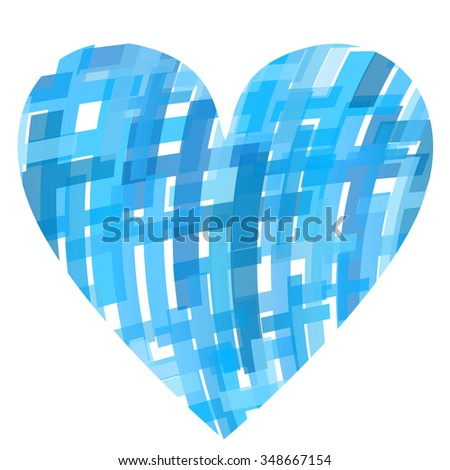 Cross clear blue abstract Christianity religion background vector illustration concept love heart - stock vector