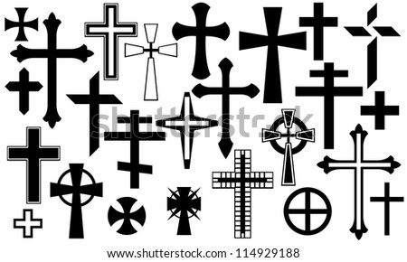cross collage isolated on white - stock vector