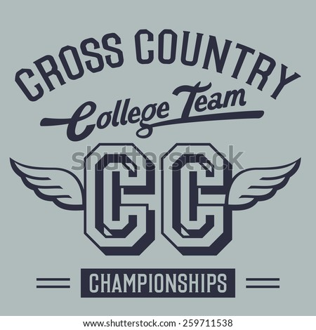Cross country championships college team, t-shirt typographic design - stock vector