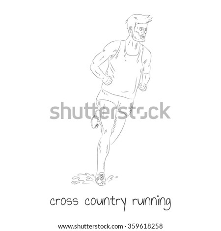 Cross country running - stock vector