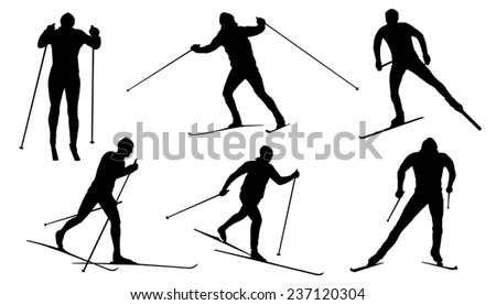 Crossed Skis Drawing Cross Country Ski Silhouettes