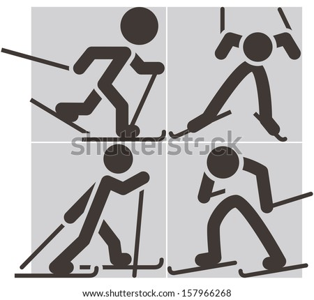 Cross-country skiing icons - stock vector