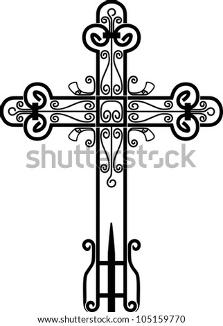 Cross engrawing picture. Vector illustration - stock vector