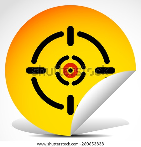 Cross hair, target mark on peeling sticker - stock vector