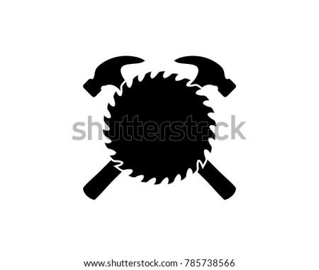 Cross Hammer Woodworking Tools Saw Blade Stock Vector ...